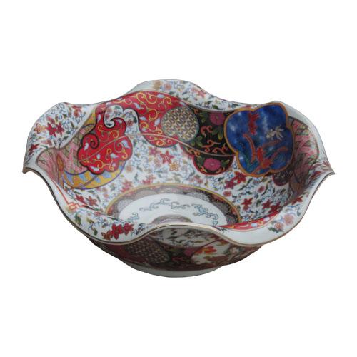 陶器洗面ボウル(手洗い鉢・ボール・洗面台・オンカウンターシンク・絵・柄) W420×D420×H175 INK-0403131H