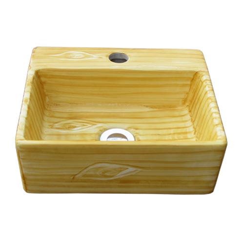 陶器洗面ボウル(木目調・手洗い鉢・ボール・洗面台・オンカウンターシンク・絵・柄)W335×D291×H120 INK-0403135H