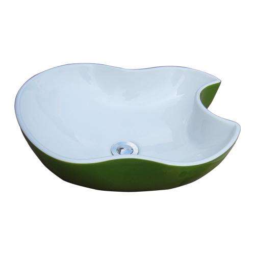 洗面ボウル 陶器 おしゃれ りんご フルーツ 緑 グリーン 手洗い鉢 置き型 オーバーフロー無し W465×D410×H150 INK-0403150H
