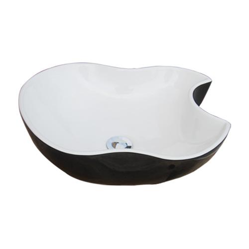 陶器洗面ボウル(りんご型・手洗い鉢・ボール・オンカウンターシンク)黒・ブラック W465×D410×H150 INK-0403154H