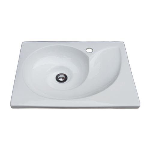 洗面ボウル 陶器 おしゃれ アンモナイト型 洗面台 オンカウンターシンク オーバーフロー無し W540×D410×H145 INK-0403169H