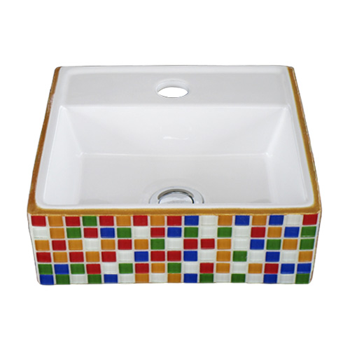 モザイクタイル張り陶器洗面ボウル(白黒・透明・モノクロ・カットガラス) 置き型(オンカウンターシンク)・オーバーフロー無し W300×D290×H105 INK-0403272H