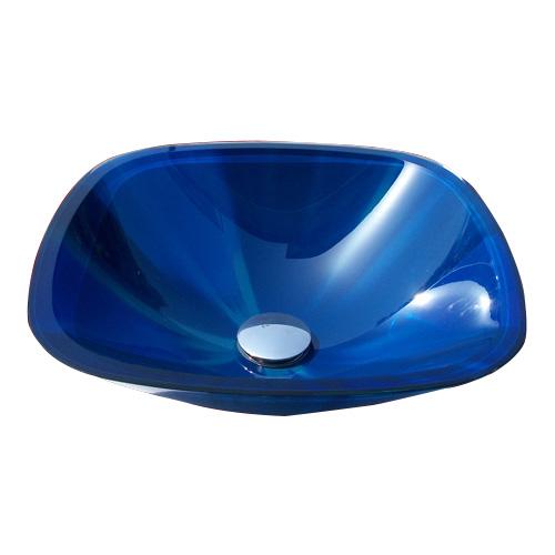 ガラス洗面ボウル(おしゃれな手洗器、手洗い鉢、洗面ボール、洗面台)青 INK-04040204H