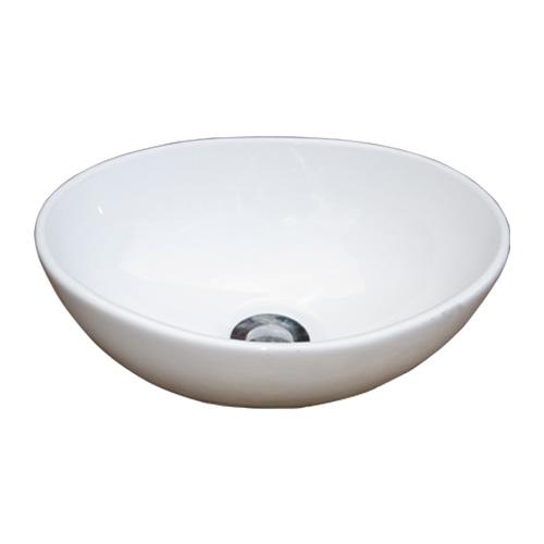 小さい洗面ボウル 陶器 シンク 手洗い鉢 オーバル 置き型 省スペース オーバーフロー無し W340×D260×H130 INK-0405043H