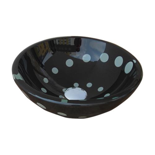 小さいガラス洗面ボウル(黒い水玉・ガラス洗面ボール・ガラスシンク・洗面台・手洗い鉢・小型・省スペース)W310×D310×H110 INK-0406008H