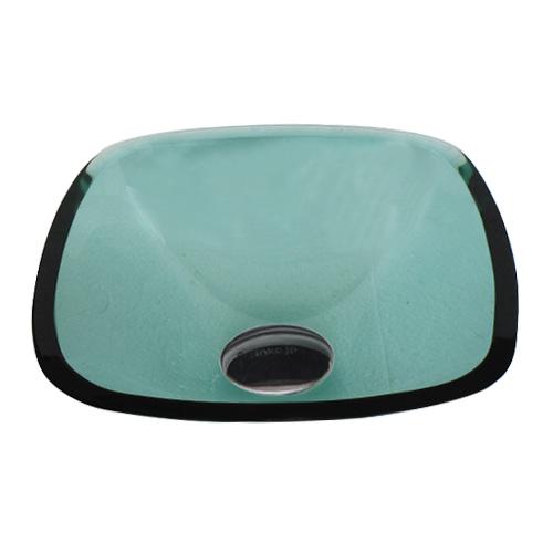 小さい四角型ガラス洗面ボウル(角丸四角・スクエア・緑・グリーン) W320×D320×H120 INK-0406022H