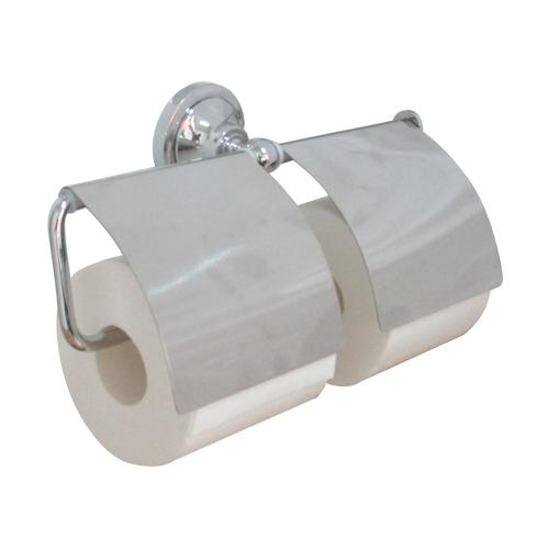 2連 トイレットペーパーホルダー 紙巻機 おしゃれ 銀 シルバー INK-0801032H