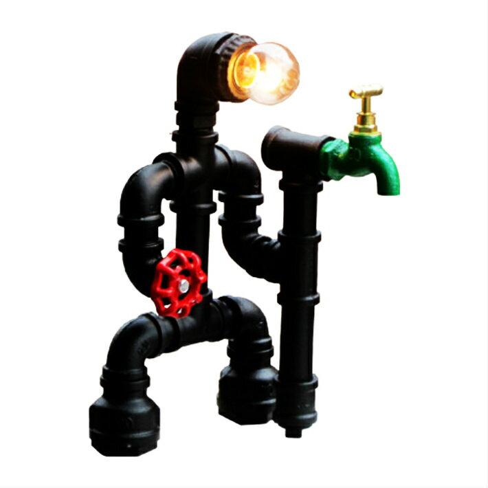 ガス管デスクランプ(人型・水道管・卓上照明・間接照明) INK-1005001H