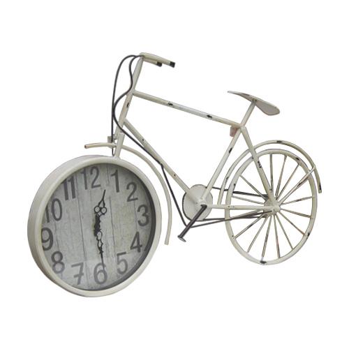 自転車型アンティーク風壁掛け時計(ウォールクロック・アナログ・インテリア・おしゃれ)白・ホワイト INK-1710018H