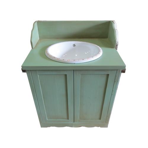 洗面ボウルの柄が選べる洗面化粧台 W750(洗面台・化粧台・エイジング塗装) エイジンググリーン INK-TT136H