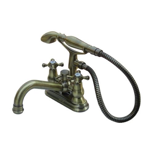 三つ穴シャワー付き水栓(三つ穴ボウル用・混合水栓・シャワー蛇口)古金 INK-0301011H-S