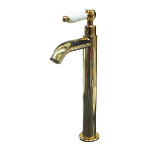 陶器レバーハンドル単水栓(蛇口・カラン・おしゃれ・インテリア・水廻り・洗面・ゴールド) INK-0302052HT