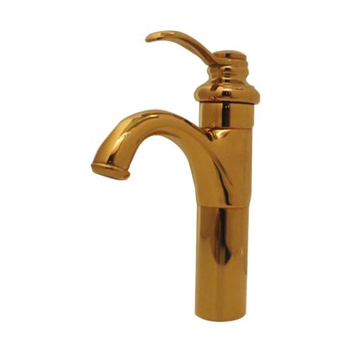 蛇口 混合水栓 洗面ボウル 洗面台用 金 ゴールド INK-03030111H
