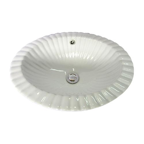 陶器洗面ボウル(手洗い鉢・陶器洗面ボール・洗面台・埋込)W450×D355×H175 INK-0401007H