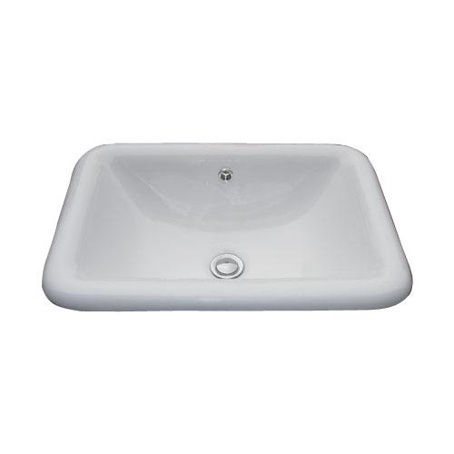 洗面ボウル 陶器 角型 シンプル 埋め込み 洗面台 オーバーフロー有り W560×D390×H200 INK-0402004H