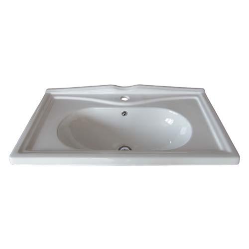 洗面ボウル 陶器 大きい 洗面台 埋め込み オーバーフロー有り W820×D470×H240 INK-0402009H (送料3300円)