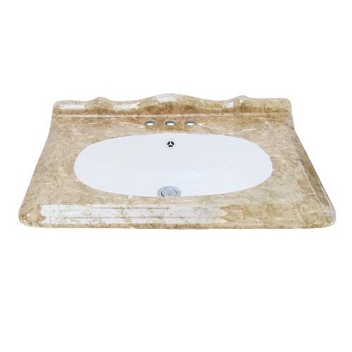 洗面ボウル アンティーク調 三つ穴 洗面器 洗面台 おしゃれ オンカウンター 埋め込み オーバーフロー有り  W660×D480×H225 INK-0402033H