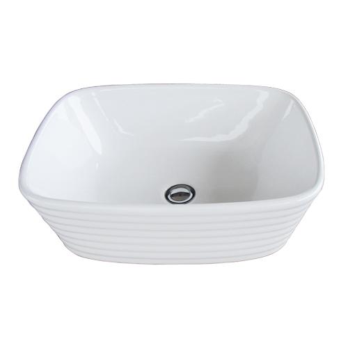 洗面ボウル 陶器 四角型 置き型(オンカウンターシンク) オーバーフロー無し W500×D380×H160   品番INK-0402039H