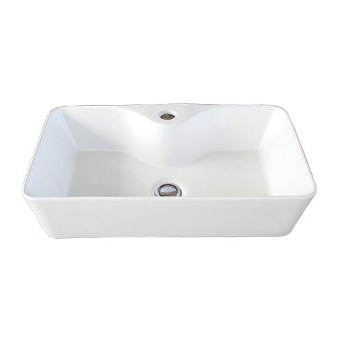洗面ボウル 陶器 四角型 置き型(オンカウンターシンク) オーバーフロー無し W550×D300×H135 | 品番INK-0402040H