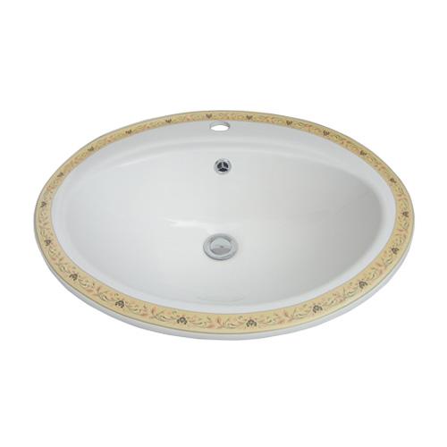 -アウトレット-(多少の柄のずれ有り)陶器洗面ボウル(手洗い鉢・ボール・埋込シンク・埋め込み・絵・柄) W560×D485×H200 INK-0403059H