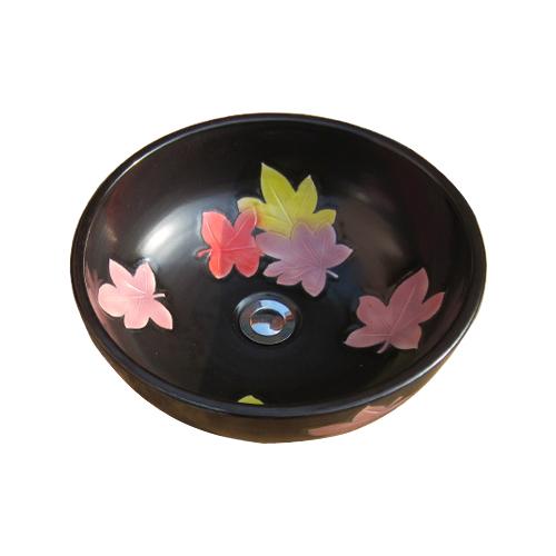 陶器洗面ボウル(手洗い鉢・ボール・洗面台・和風・紅葉柄) W390×D390×H150 INK-0403156H