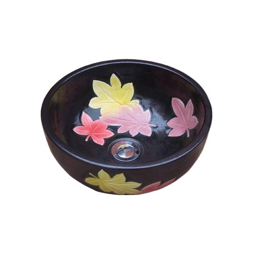 陶器洗面ボウル(手洗い鉢・ボール・洗面台・和風・紅葉柄) W330×D330×H135 INK-0403157H