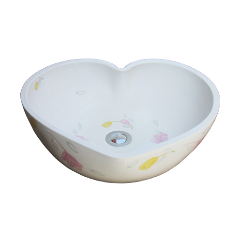 -訳あり商品-ハート型陶器洗面ボウル(手洗い鉢・ボール・オンカウンターシンク・ハート・花柄) W430×D385×H145 INK-0403182H