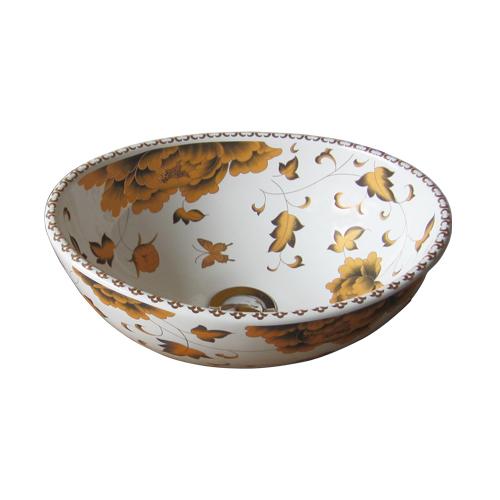 洗面ボウル おしゃれ 花柄 セピア 楕円 手洗い鉢 ボール オンカウンターシンク オーバーフロー無し W335×D265×H130 INK-0403195H