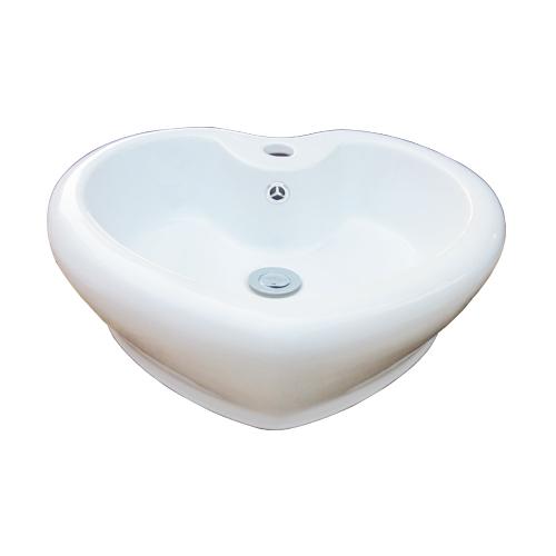 洗面ボウル ハート型 おしゃれ オーバーフロー有り W520×D485×H170 INK-0403202H(HEART)