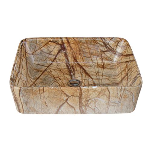 石目柄陶器洗面ボウル 置き型(オンカウンターシンク)・オーバーフロー無し W480×D370×H135 INK-0403259H
