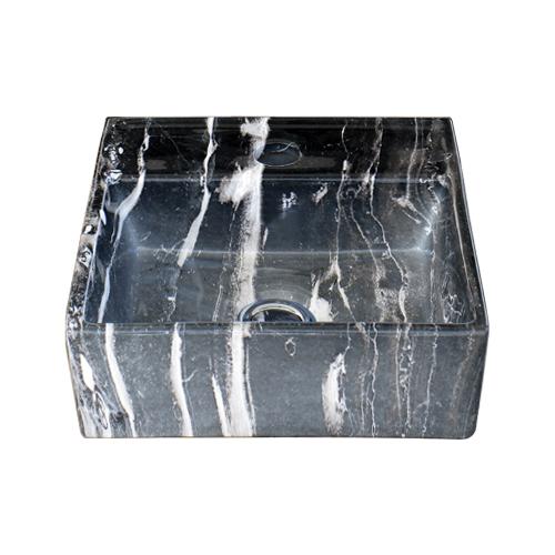 石目柄陶器洗面ボウル(マーブルブラック) 置き型(オンカウンターシンク)・オーバーフロー無し W280×D280×H105 INK-0403264H