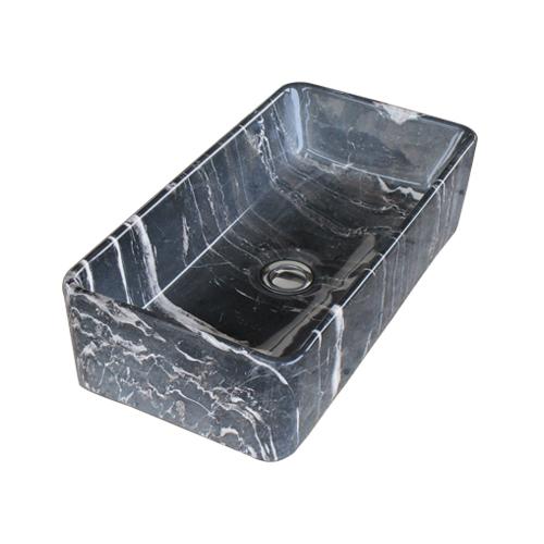 洗面ボウル 陶器 四角型 置き型(オンカウンターシンク) 石目柄 マーブルブラック オーバーフロー無し W460×D220×H120   品番INK-0403280H