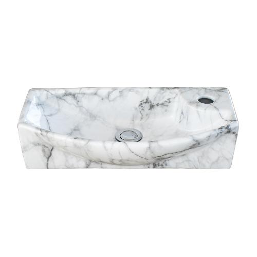 洗面ボウル 陶器 小さい おしゃれ 石目柄 マーブルホワイト 置き型 壁付け型 オーバーフロー無し W450×D230×H120 | 品番INK-0403292H