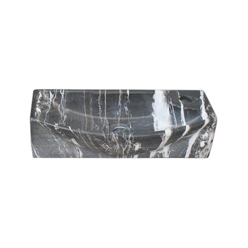 洗面ボウル 陶器 小さい 石目柄 マーブルブラック 置き型(オンカウンターシンク)・壁付け型 オーバーフロー無し W450×D230×H120 | 品番INK-0403293H