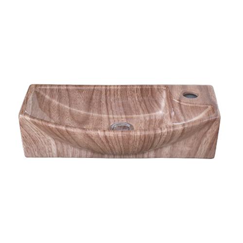 洗面ボウル 陶器 小さい 木目柄 置き型(オンカウンターシンク)・壁付け型 オーバーフロー無し W450×D230×H120 | 品番INK-0403296H