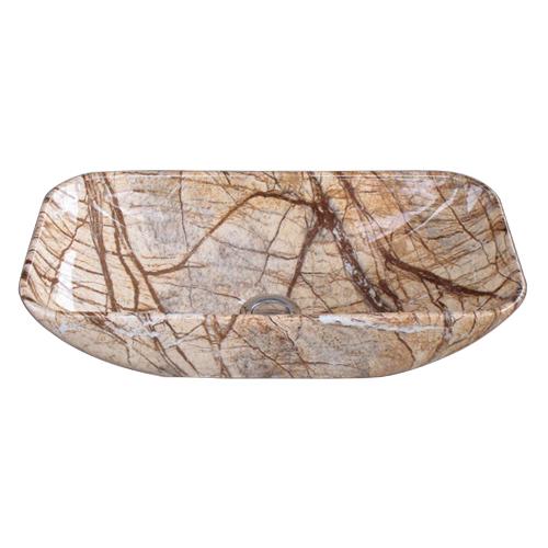 洗面ボウル 陶器 小さい 石目柄 マーブル 置き型(オンカウンターシンク) オーバーフロー無し W460×D230×H120 | 品番INK-0403302H