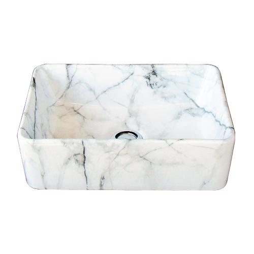 洗面ボウル 陶器 四角型 置き型(オンカウンターシンク) 石目柄 マーブルホワイト オーバーフロー無し W360×D230×H120 | 品番INK-0403316H