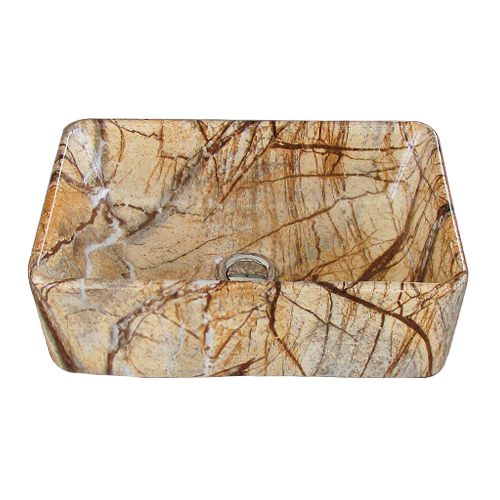 洗面ボウル 陶器 四角型 置き型(オンカウンターシンク) 石目柄 オーバーフロー無し W360×D230×H120 | 品番INK-0403318H