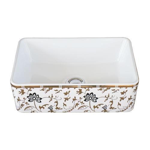 洗面ボウル 陶器 四角型 置き型(オンカウンターシンク) 金花柄 オーバーフロー無し W360×D230×H120 | 品番INK-0403319H