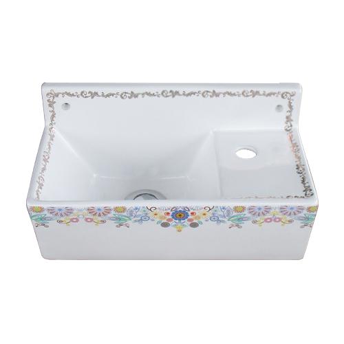 洗面ボウル 陶器 小さい 花柄 カラフル 壁付け型 オーバーフロー無し 単水栓用 W355×D195×H180 | 品番INK-0403327H