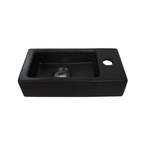人気の定番 コンパクトな手洗い器 洗面ボウル 陶器 直送商品 小さい 四角型 置き型 黒 ブラック オンカウンターシンク W370×D185×H90 品番INK-0405075H オーバーフロー無し