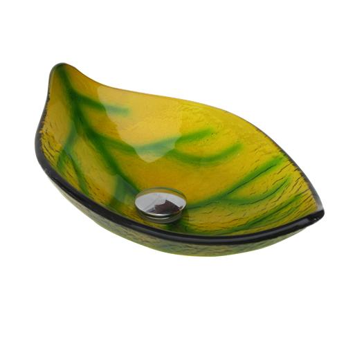 小さいガラス洗面ボウル(葉っぱ・手洗器・手洗鉢・洗面ボール・おしゃれ・かわいい・省スペース) W500×D290×H145 INK-0406014H