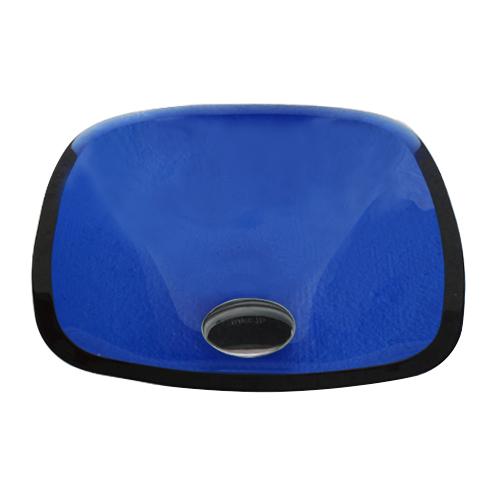 小さい四角型ガラス洗面ボウル(角丸四角・スクエア・青・ブルー) W320×D320×H120 INK-0406024H