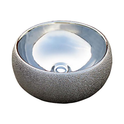 洗面ボウル 陶器 メタリック おしゃれ 丸型 置き型 オンカウンターシンク 銀 シルバー オーバーフロー無し W400×D400×H155 品番INK-0411010H