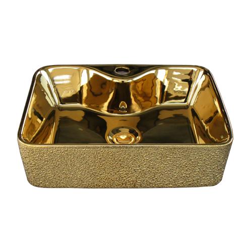 洗面ボウル 陶器 四角型 置き型(オンカウンターシンク) メタリック 金・ゴールド オーバーフロー無し W490×D380×H135 | 品番INK-0411012H