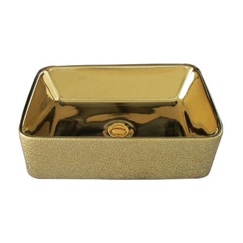 洗面ボウル 陶器 四角型 置き型(オンカウンターシンク) メタリック 金・ゴールド オーバーフロー無し W490×D380×H135 | 品番INK-0411013H