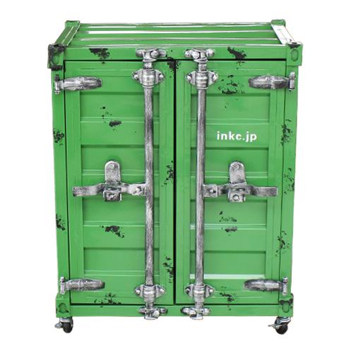 コンテナボックス(洗面化粧台・収納・おしゃれ・インテリア)緑・グリーン W610×D495×H760 INK-0501079H