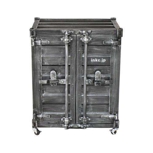 コンテナボックス(洗面化粧台・収納・おしゃれ・インテリア)黒・ブラック W610×D495×H760 INK-0501080H
