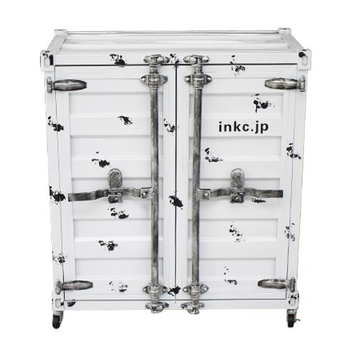 コンテナボックス 洗面化粧台 収納 下駄箱 おしゃれ インテリア 白・ホワイト W760×D445×H860 | 品番INK-0501081H