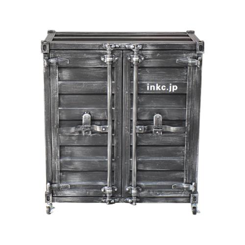 【受注生産品】コンテナボックス 洗面化粧台 収納 下駄箱 おしゃれ インテリア 黒・ブラック W760×D445×H860 | 品番INK-0501084H